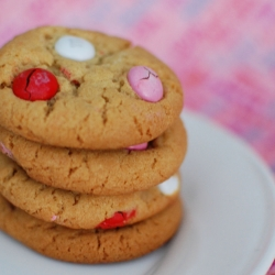 Valentine's Pink and Red MM Cookies in a Jar