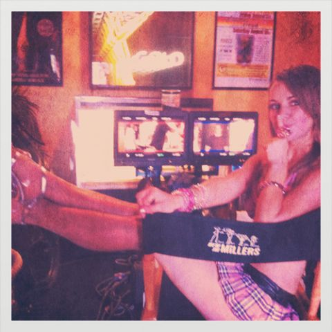 Laura-Leigh on set in North Carolina where she is filming a new movie playing alongside Hollywood star Jennifer Annistan.