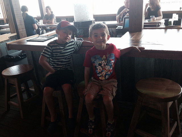 The boys at the Boardwalk at Put-in-Bay